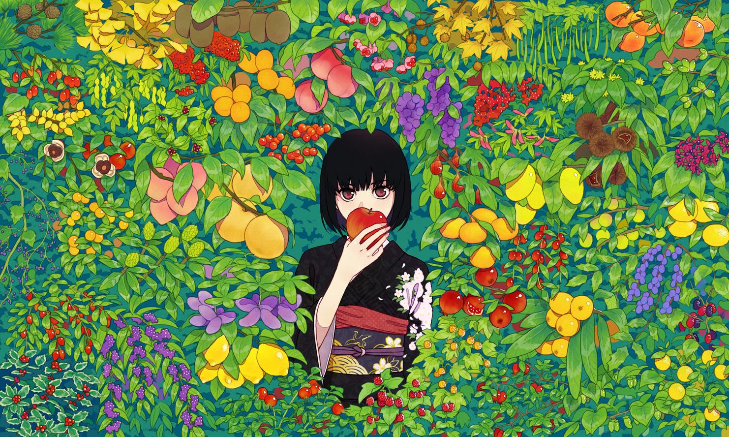 apple black_hair cherry food fruit japanese_clothes kimono leaves orange_(fruit) original red_eyes short_hair urue