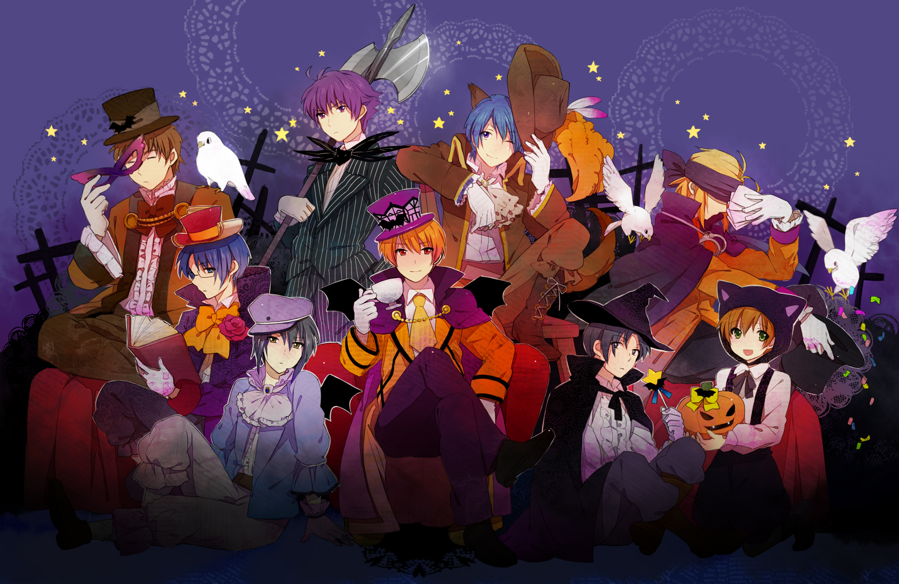 all_male angel_beats! animal animal_ears bird cape fujimaki halloween hat hinata_hideki male mask matsushita naoi_ayato noda ooyama otonashi_yuzuru takamatsu tk tomako weapon