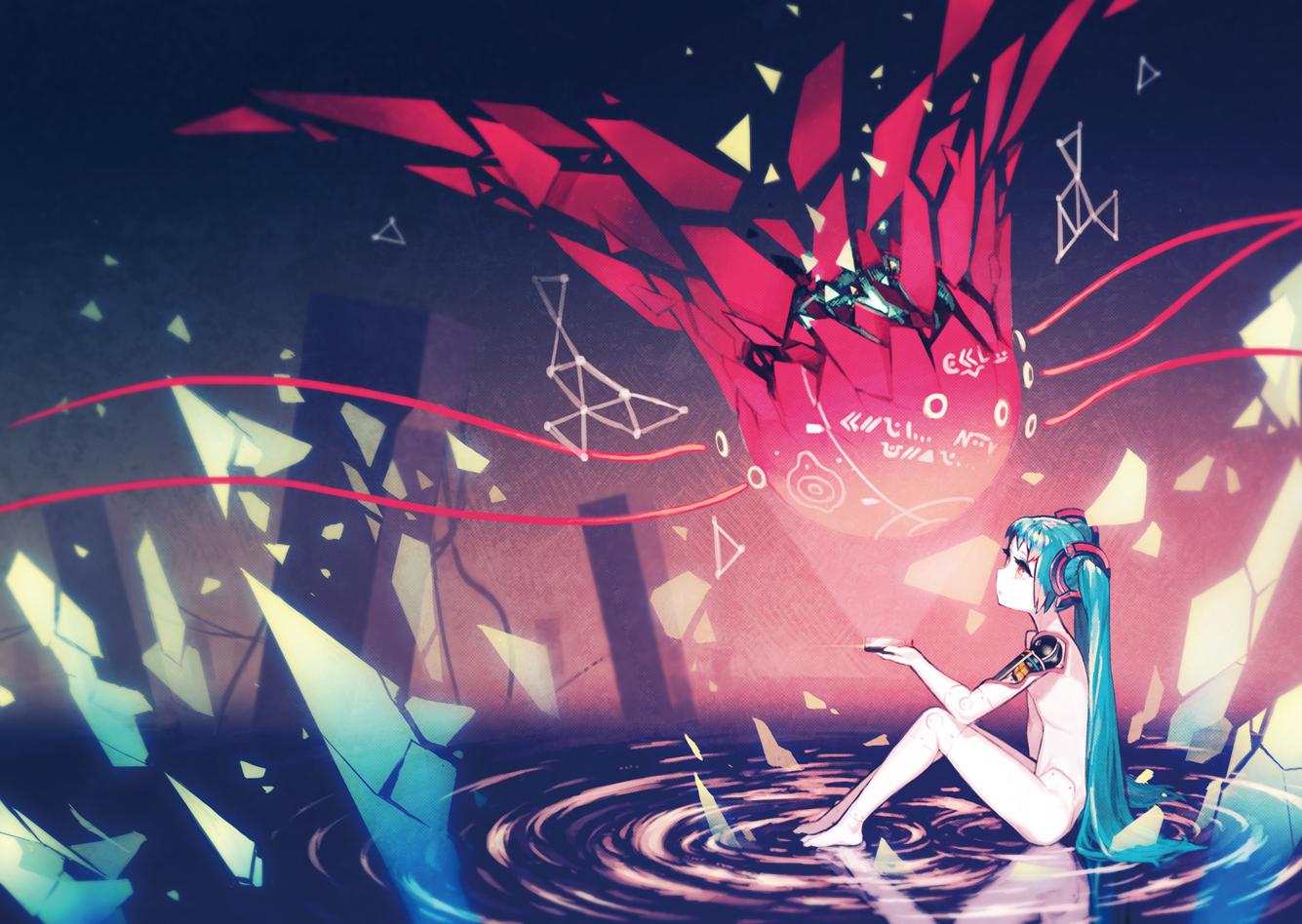 aqua_hair asgr hatsune_miku long_hair nude red_eyes techgirl twintails vocaloid water