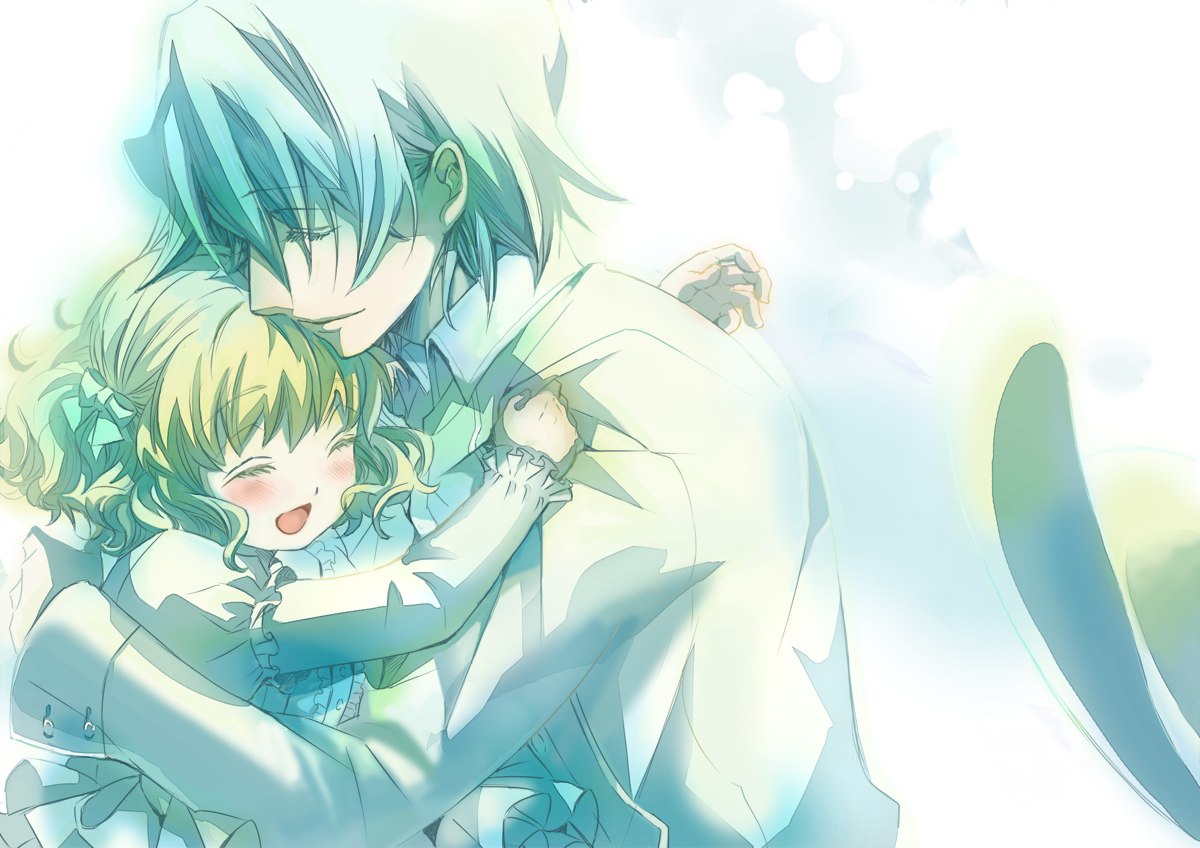 blonde_hair emi_(penguin908) gray_hair hug pandora_hearts short_hair xerxes_break