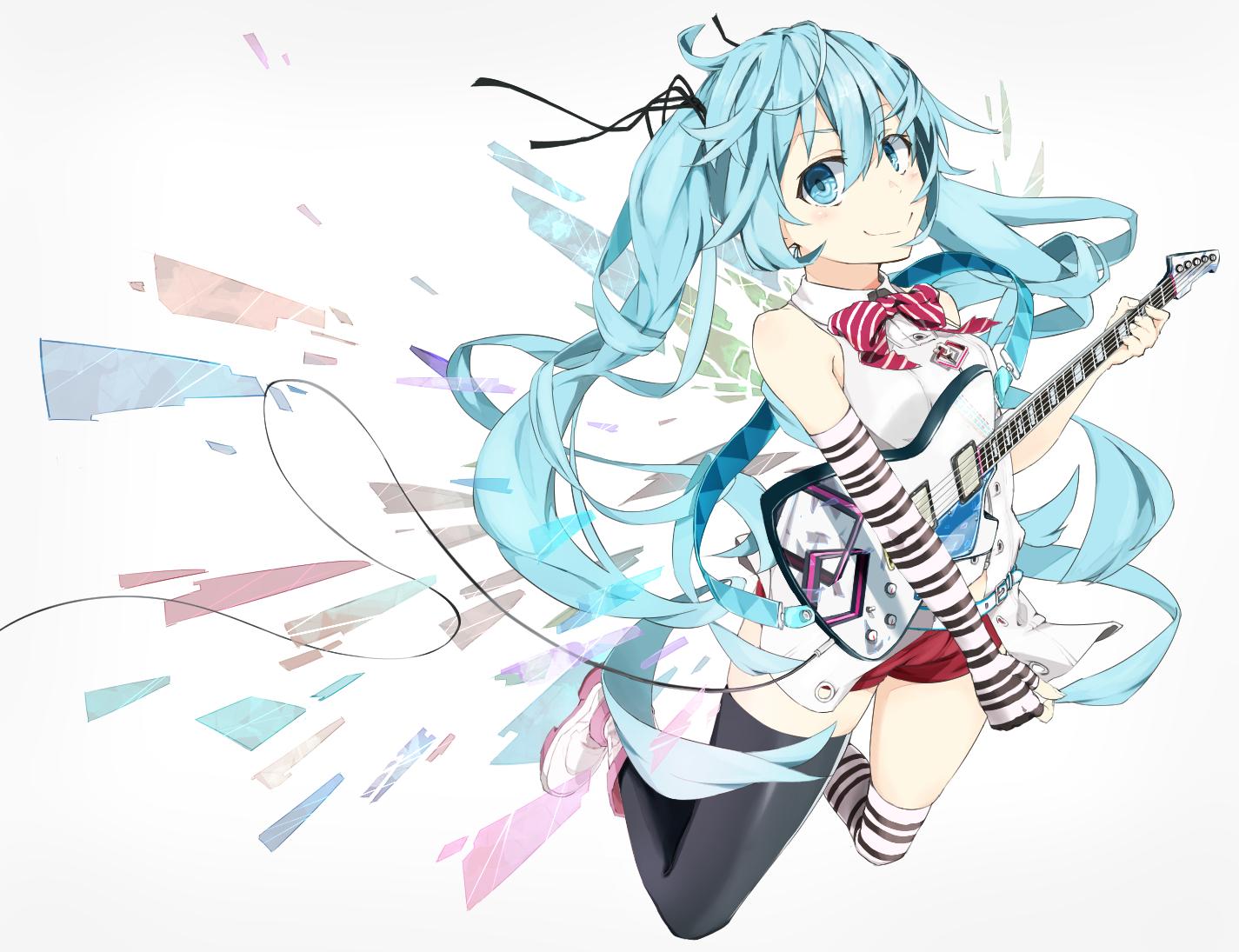 blue_eyes blue_hair guitar hatsune_miku instrument long_hair piisu twintails vocaloid