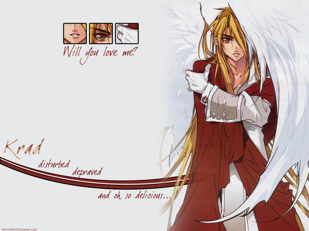 all_male blonde_hair dnangel gloves krad long_hair male sugisaki_yukiru white wings yellow_eyes