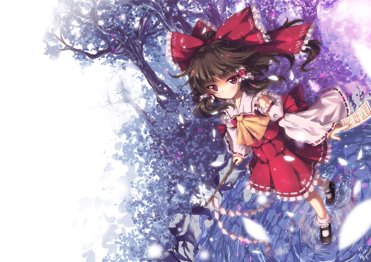 bow brown_hair hakurei_reimu japanese_clothes long_hair miko north_abyssor red_eyes signed touhou tree water