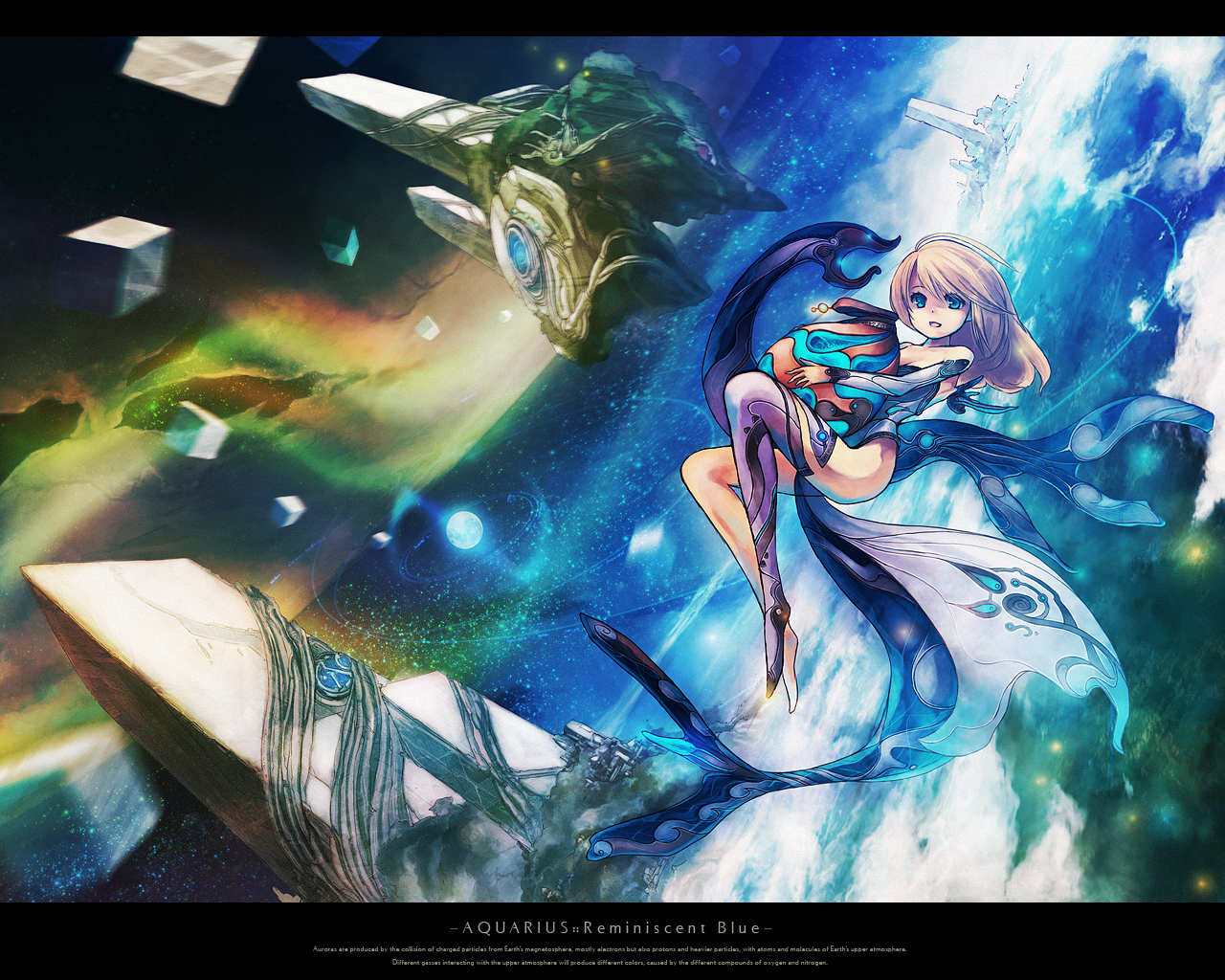 blonde_hair blue_eyes chitose_rin original planet scenic space stars