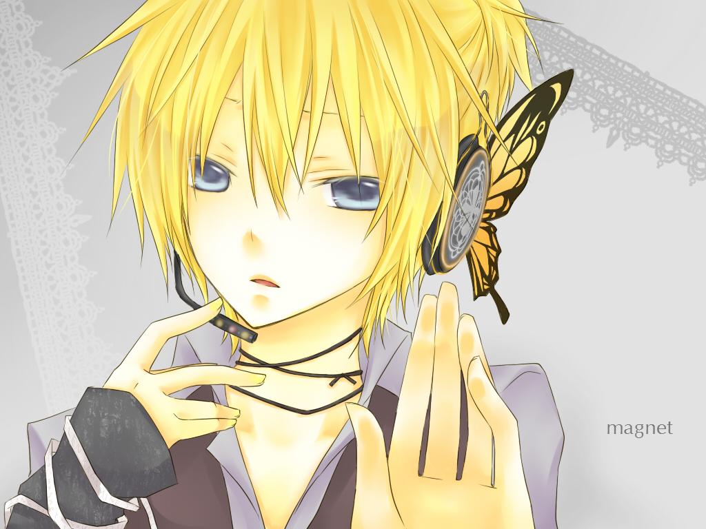 aliasing all_male blonde_hair blue_eyes headphones kagamine_len kuroi_(liar-player) magnet_(vocaloid) male vocaloid