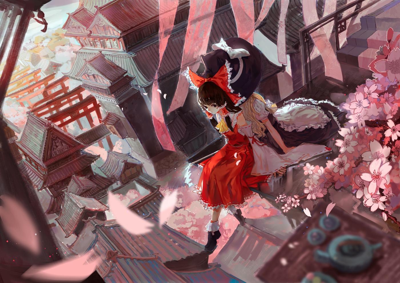 building cherry_blossoms flowers hakurei_reimu hat japanese_clothes kirisame_marisa miko petals touhou witch witch_hat xiayu93