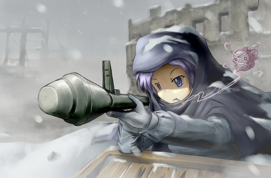 blue_eyes blue_hair cigarette fat_(artist) gloves kumoi_ichirin snow touhou unzan weapon