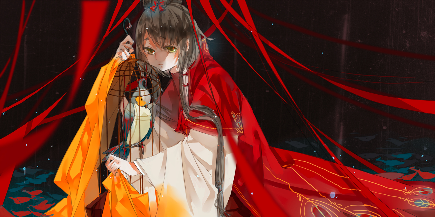 animal bird cage chinese_clothes gray_hair long_hair luo_tianyi ribbons twintails vocaloid vsinger xiayu93 yellow_eyes