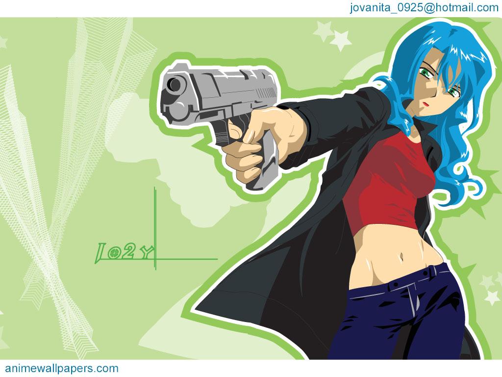 blue_hair green green_eyes gun mireille_bouquet noir weapon