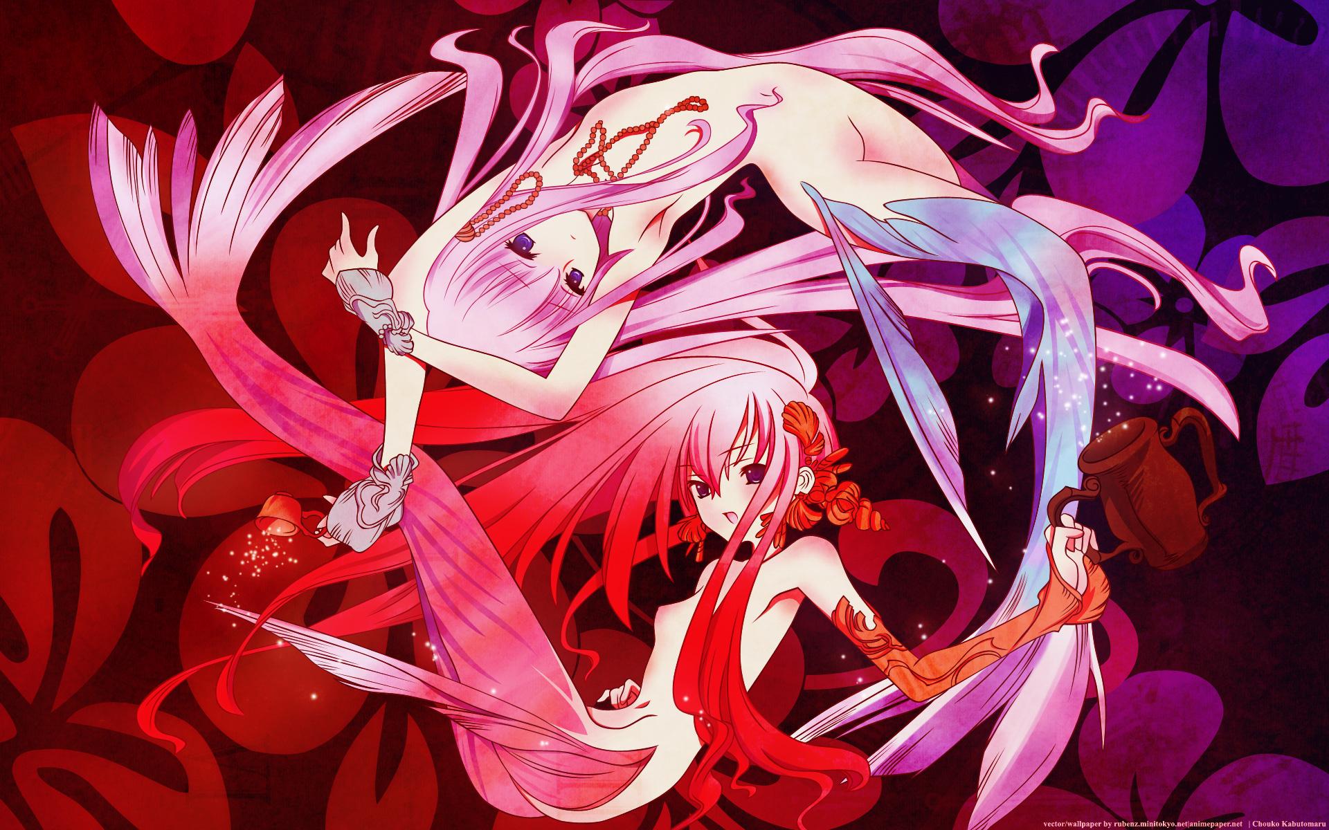 choco chocolate_shop long_hair mermaid nude pink_hair purple_eyes