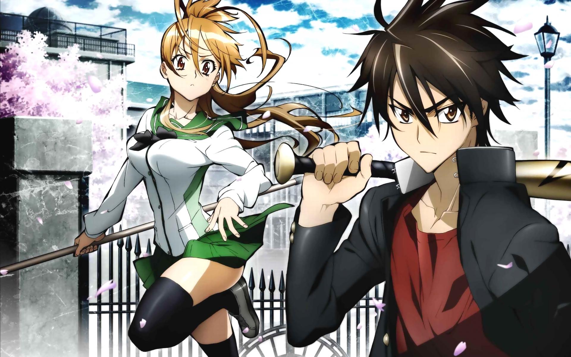 highschool_of_the_dead komuro_takashi miyamoto_rei petals school_uniform thighhighs weapon