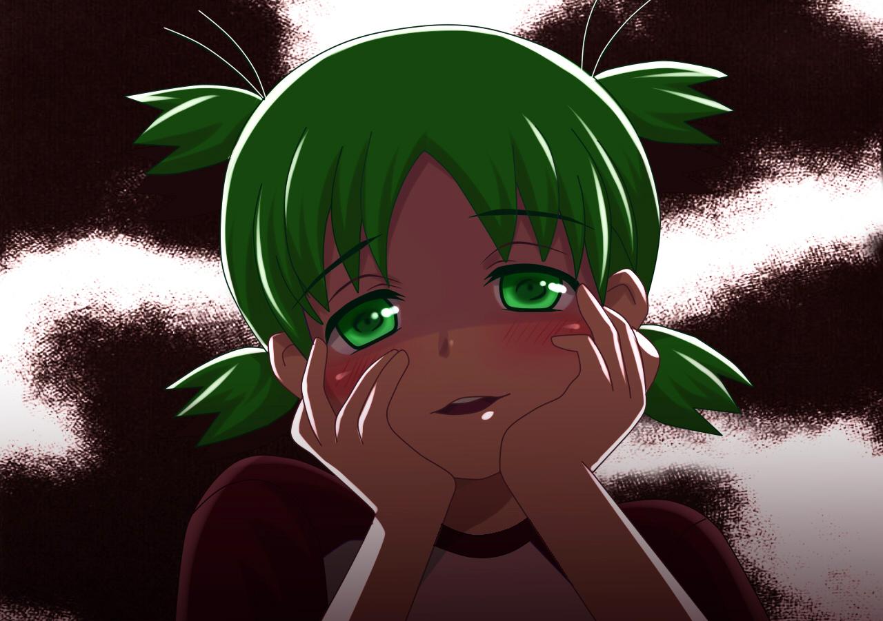 green_eyes green_hair koiwai_yotsuba mirai_nikki parody yotsubato!