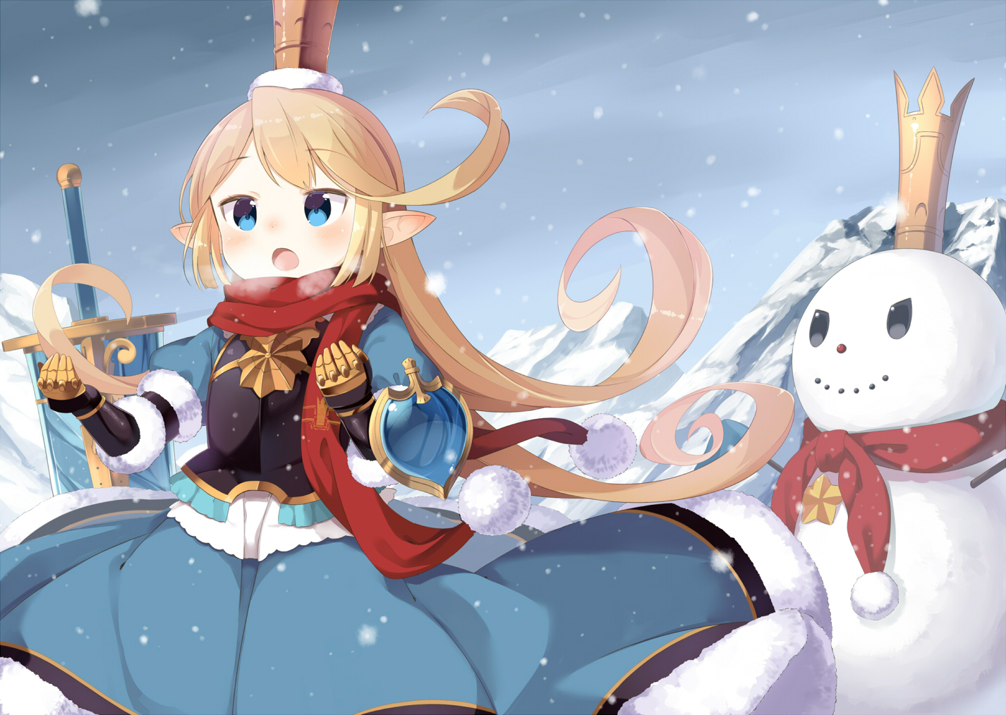 aqua_eyes armor blonde_hair blush charlotta_(granblue_fantasy) dress granblue_fantasy hat loli long_hair muku-coffee pointed_ears scarf snow snowman sword weapon winter