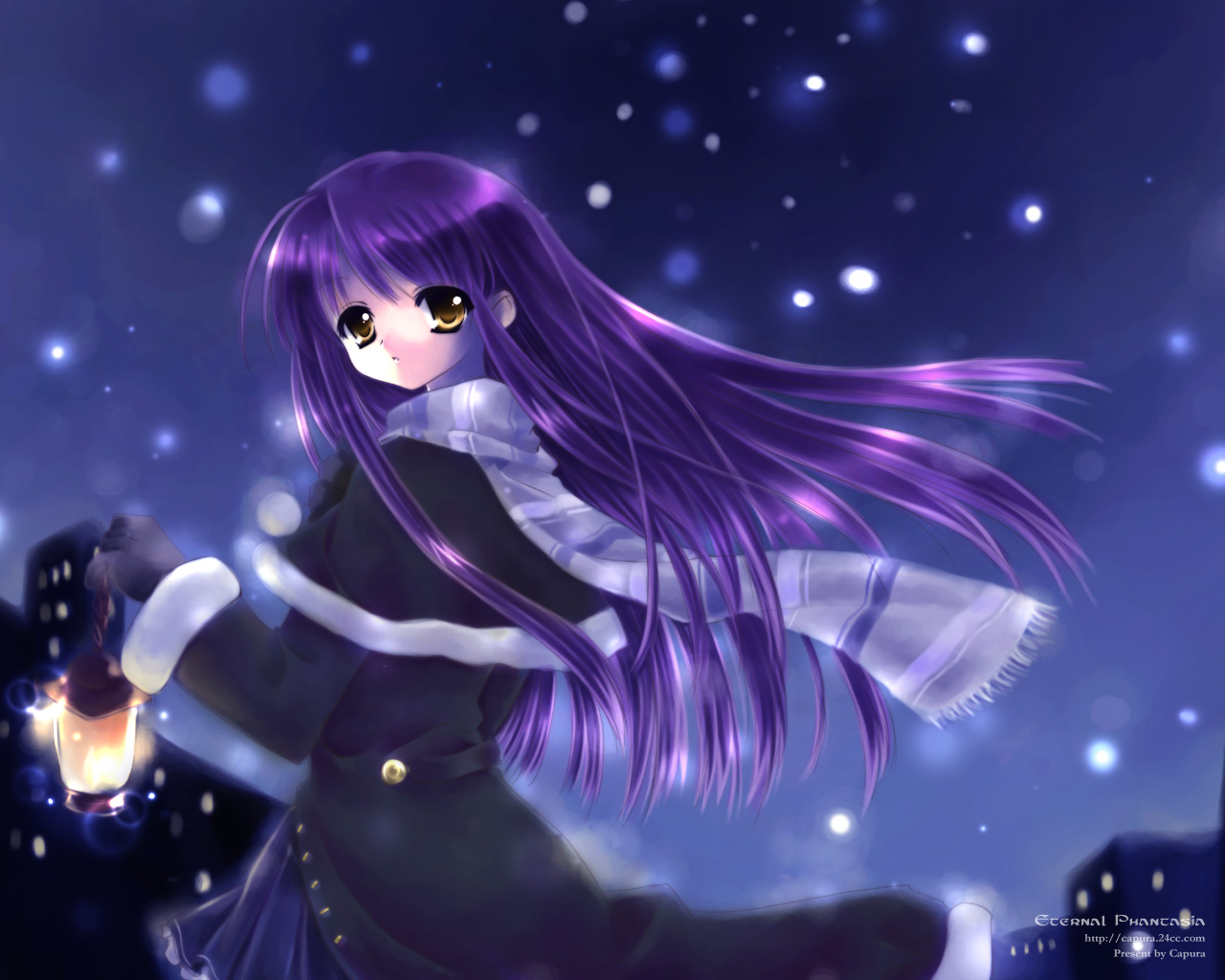 capura_lin long_hair night original purple_hair snow yellow_eyes