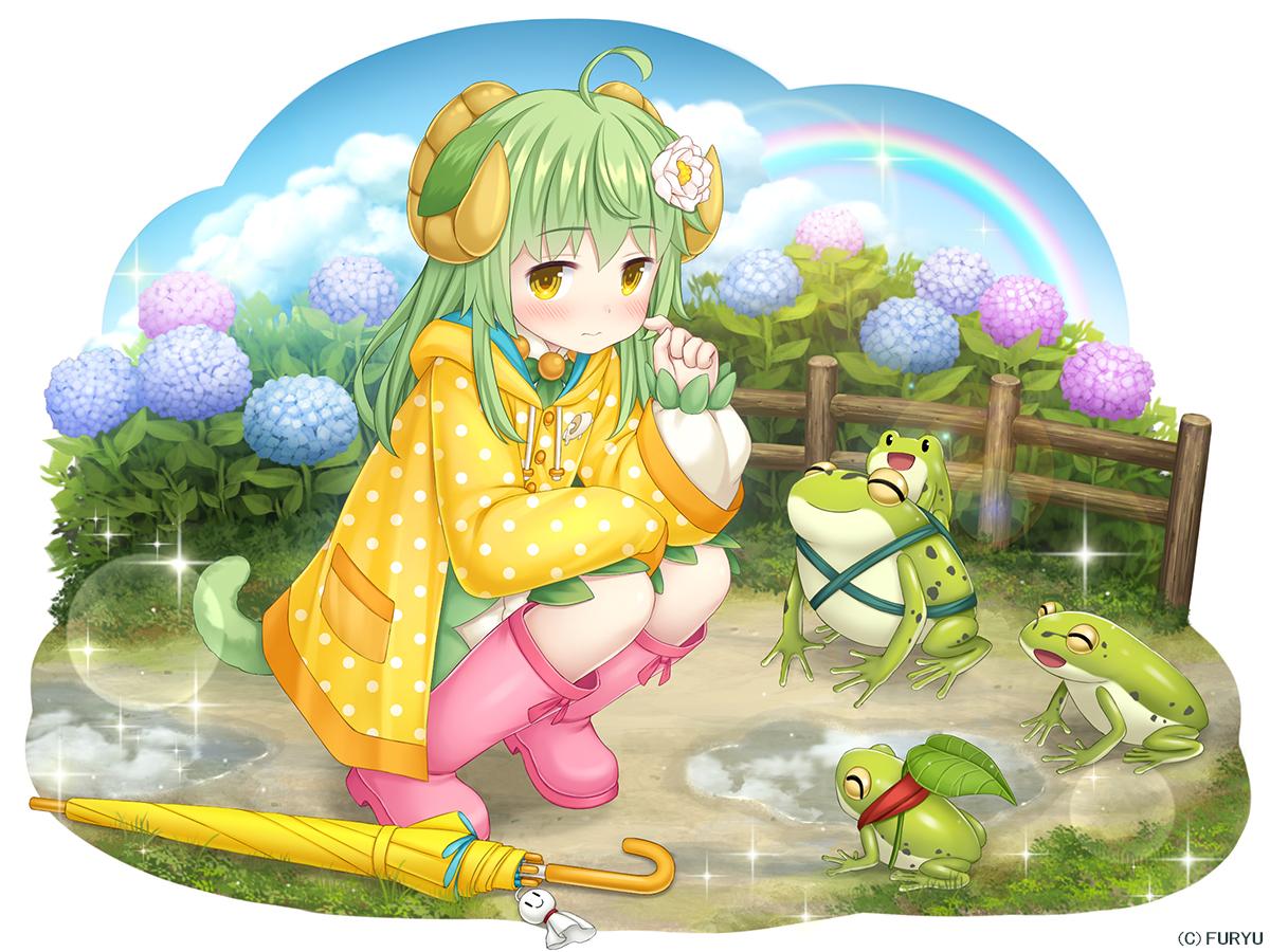 animal animal_ears asatsuki_(monmusu_harem) blush boots clouds flowers frog green_hair hoodie horns loli long_hair monmusu_harem namaru_(summer_dandy) rainbow sky tail umbrella water yellow_eyes