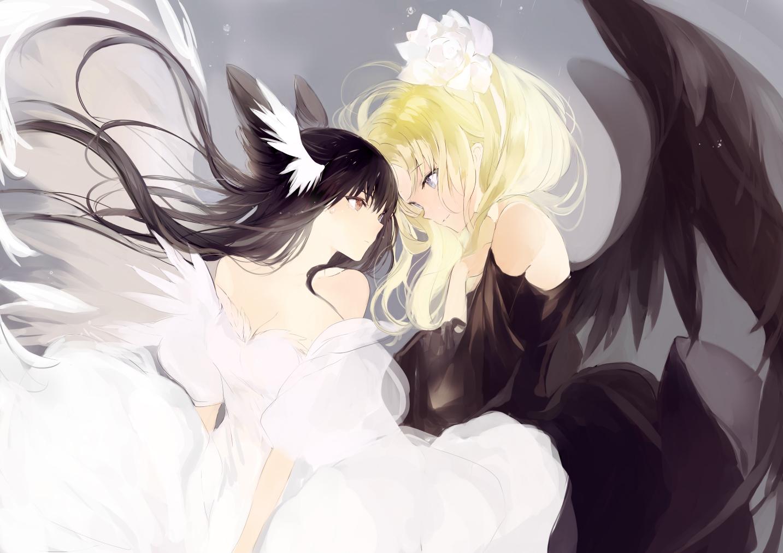 2girls aliasing black_hair blonde_hair dress long_hair lpip original wings