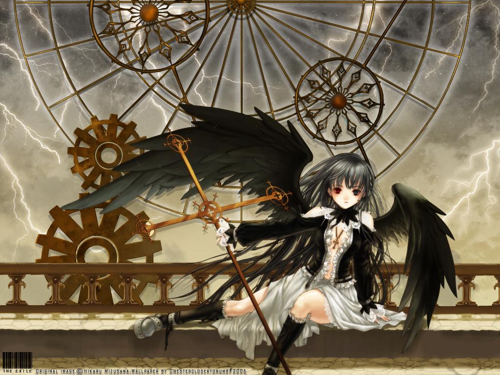 angel bicolored_eyes clouds cross dress gray_hair kneehighs long_hair mizusawa_hikaru necklace sky stars tagme wings