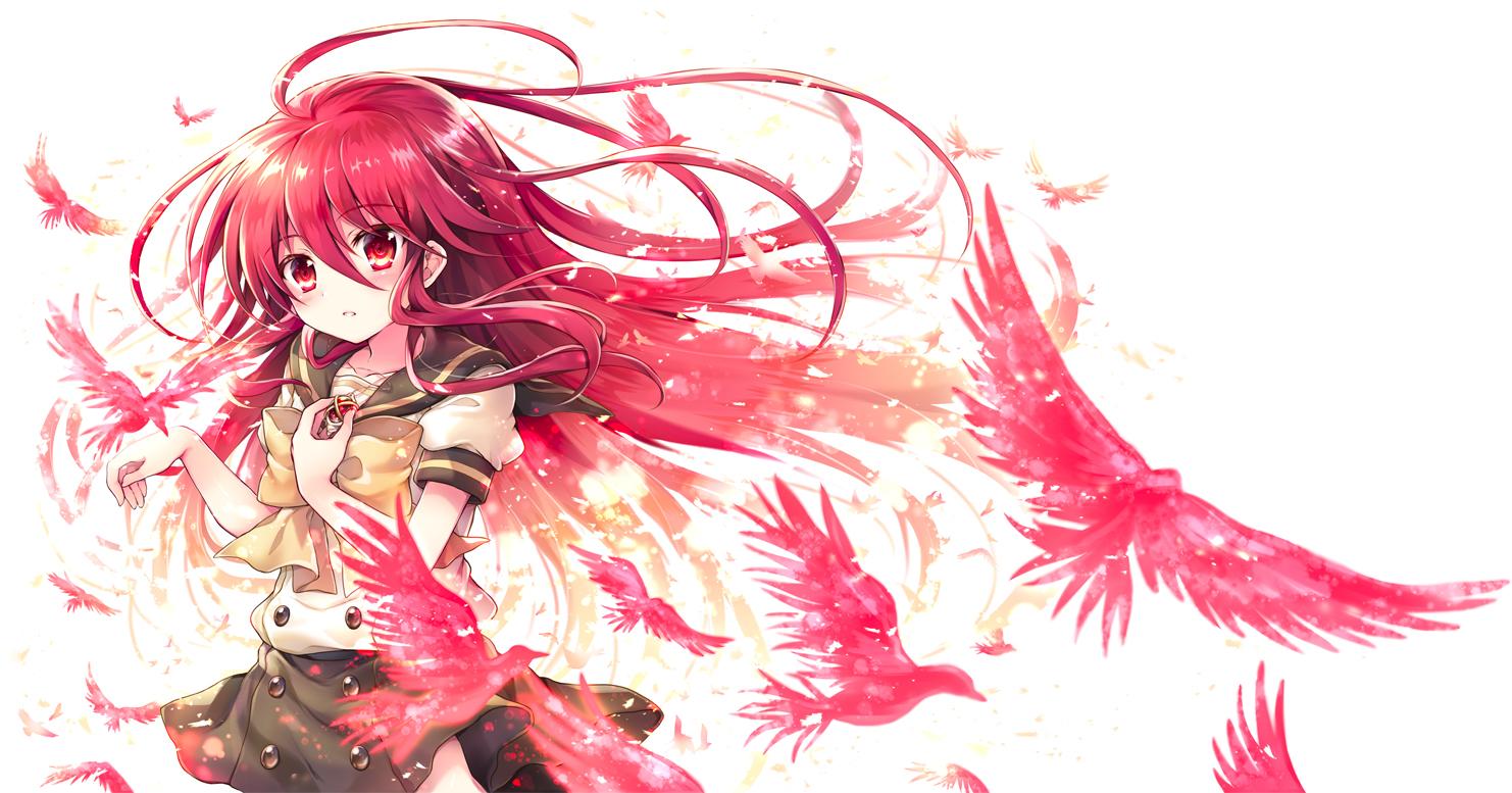 animal bird blush bow long_hair red_eyes red_hair school_uniform shakugan_no_shana shana tachitsu_teto