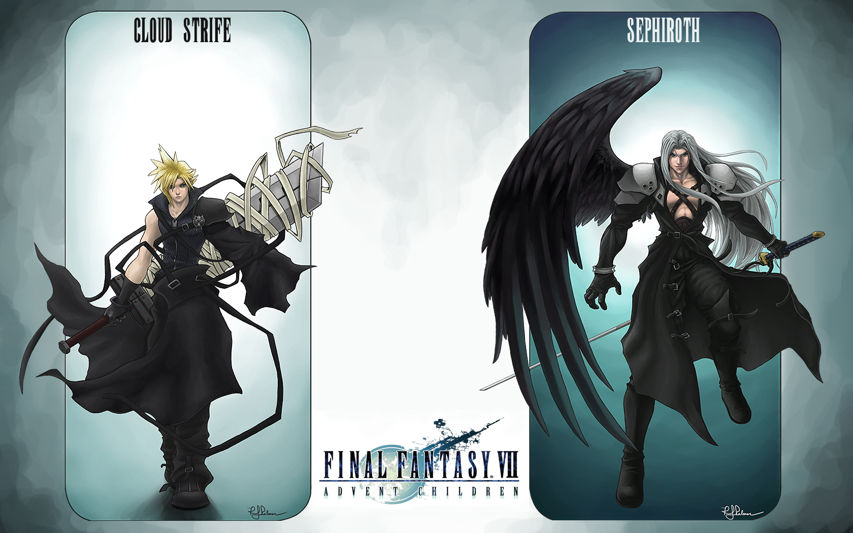 bandage blonde_hair boots cape cloud_strife final_fantasy final_fantasy_vii gloves gray_hair long_hair sephiroth short_hair sword weapon wings