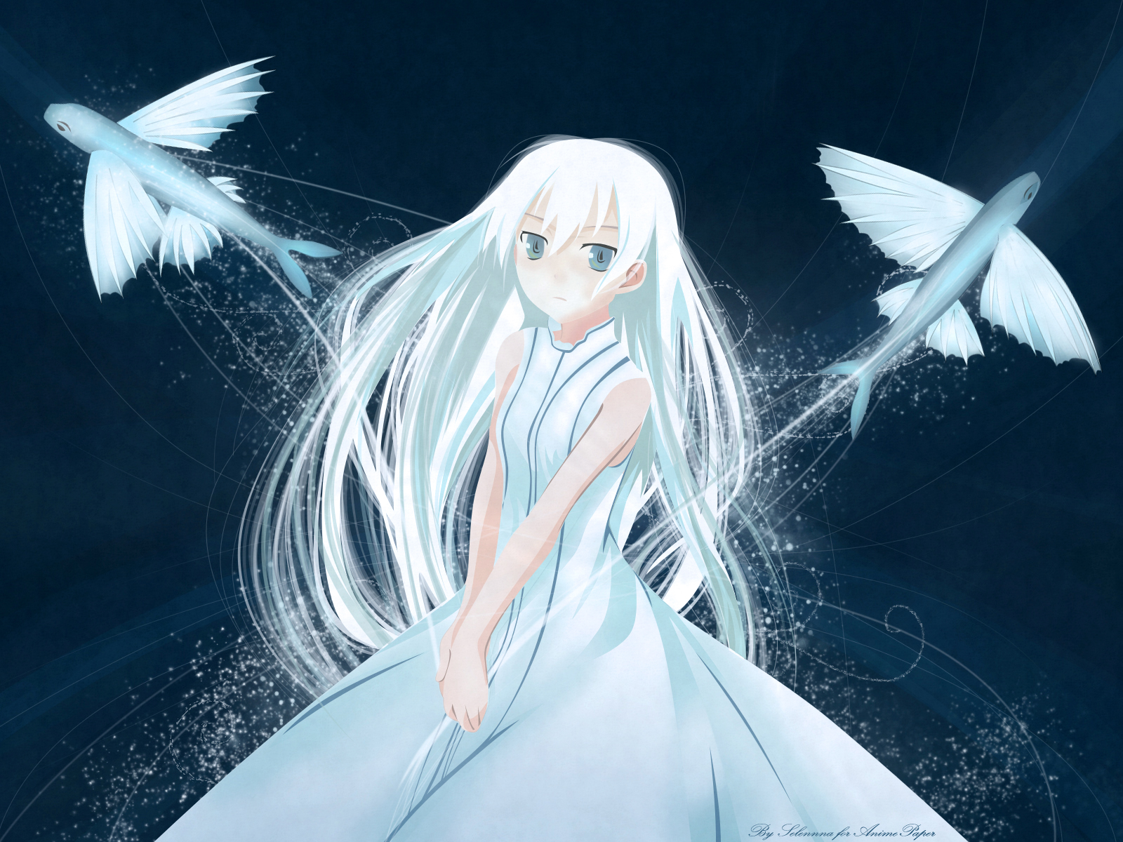 Animal Blue Blue Eyes Dress Fish Long Hair Momo Shinigami