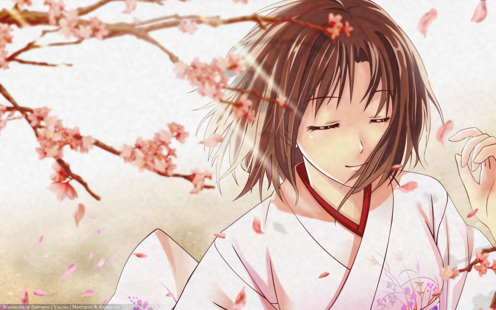 cherry_blossoms chobipero flowers japanese_clothes kara_no_kyoukai petals ryougi_shiki