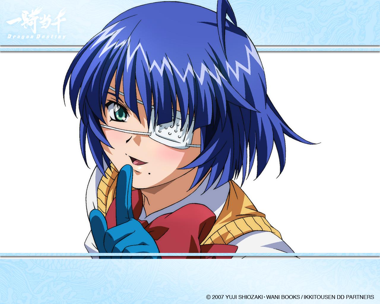 aqua_eyes blue_hair blush bow eyepatch gloves ikkitousen ryomou_shimei school_uniform short_hair tagme watermark