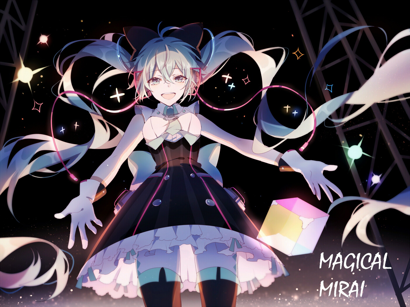 dress gloves hatsune_miku headphones lococo:p long_hair magical_mirai_(vocaloid) thighhighs twintails vocaloid