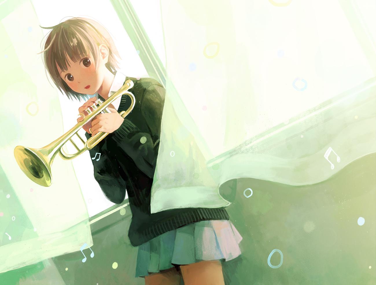 brown_eyes brown_hair hinata_(lipcream) instrument original school_uniform short_hair skirt