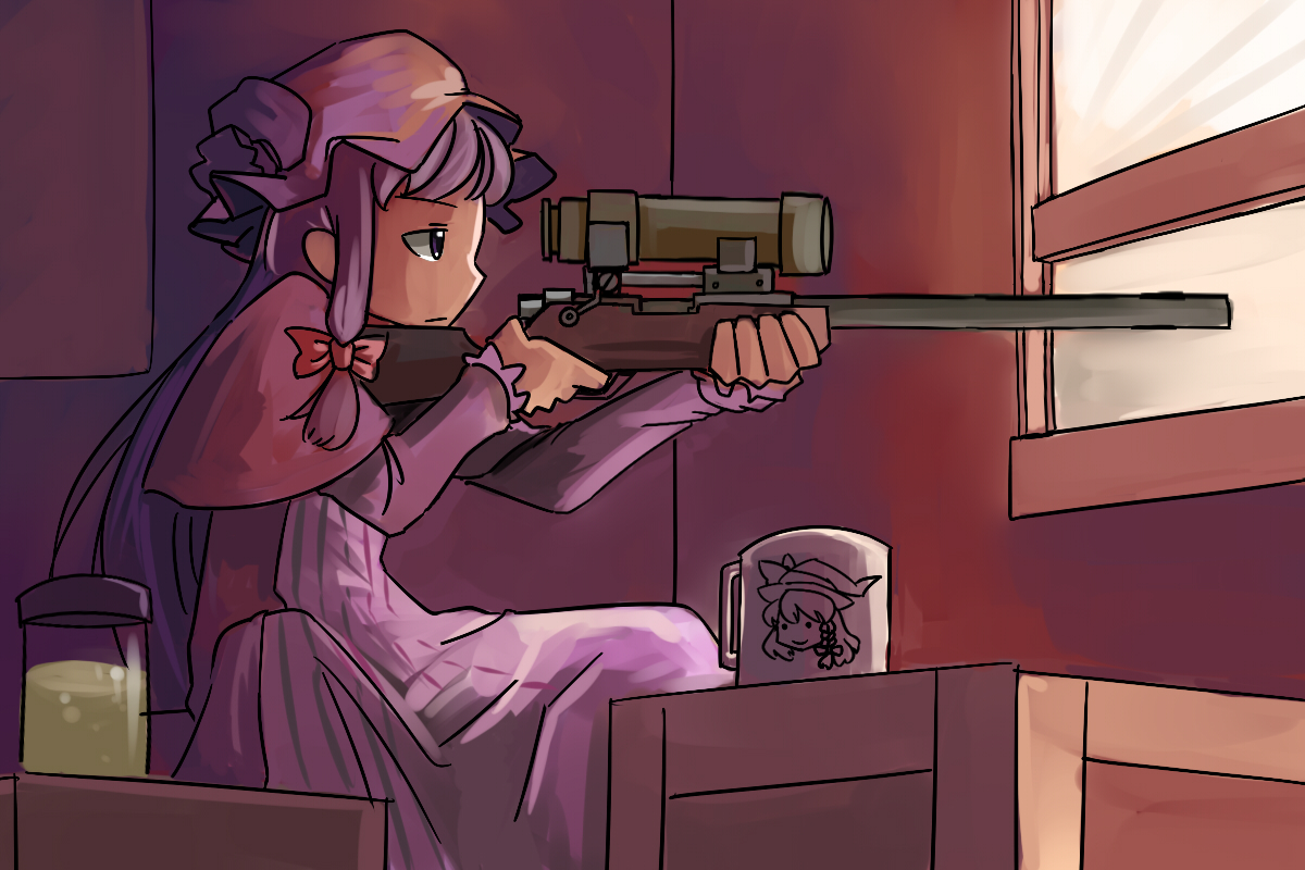 bow gun hat kirisame_marisa long_hair parody patchouli_knowledge purple_eyes purple_hair team_fortress_2 touhou weapon zassou_maruko