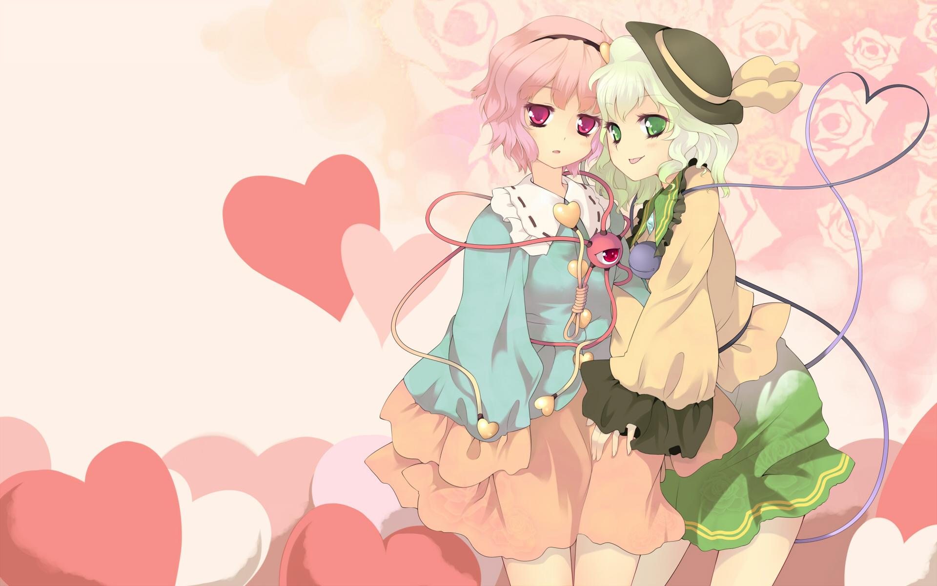 green_eyes jungetsu_hoko komeiji_koishi komeiji_satori pink_eyes purple_hair ribbons touhou
