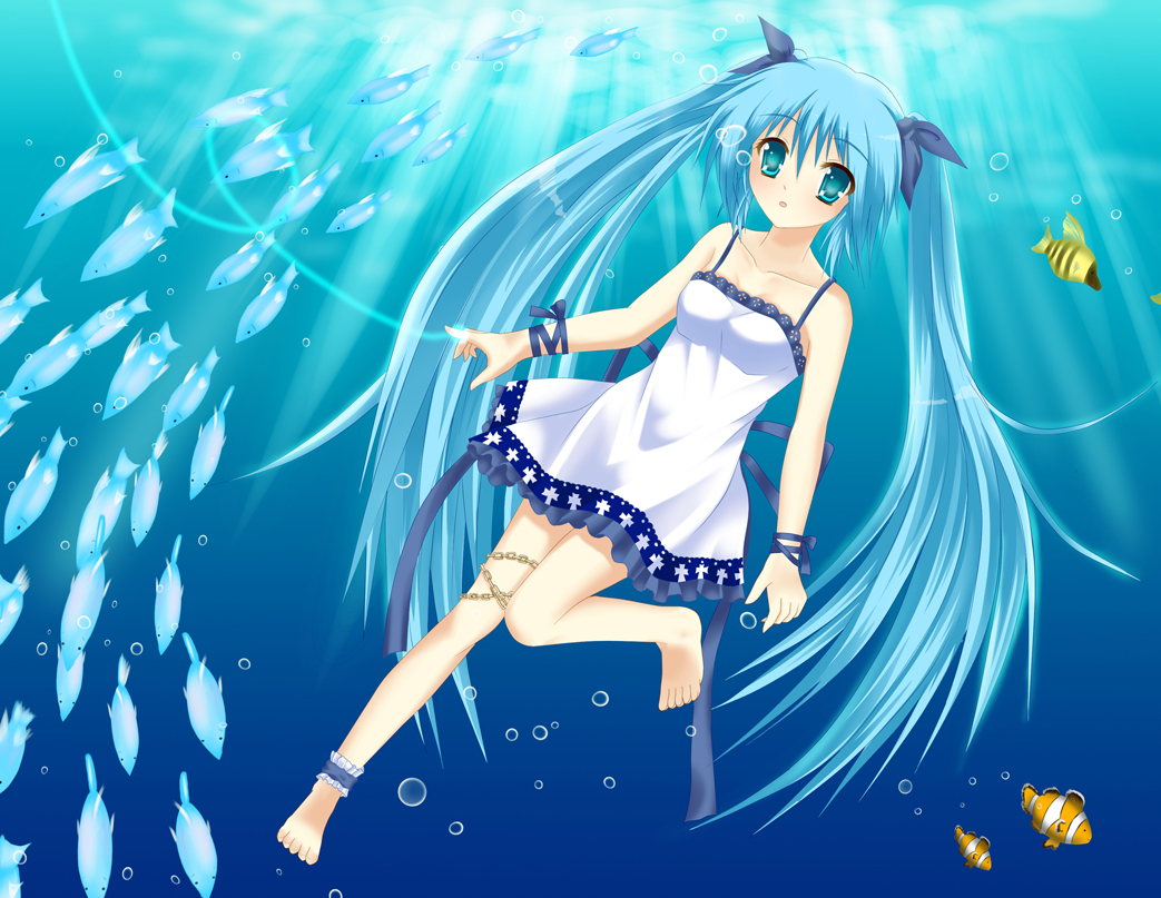 animal aqua_eyes aqua_hair barefoot chain fish hatsune_miku long_hair twintails underwater vocaloid water
