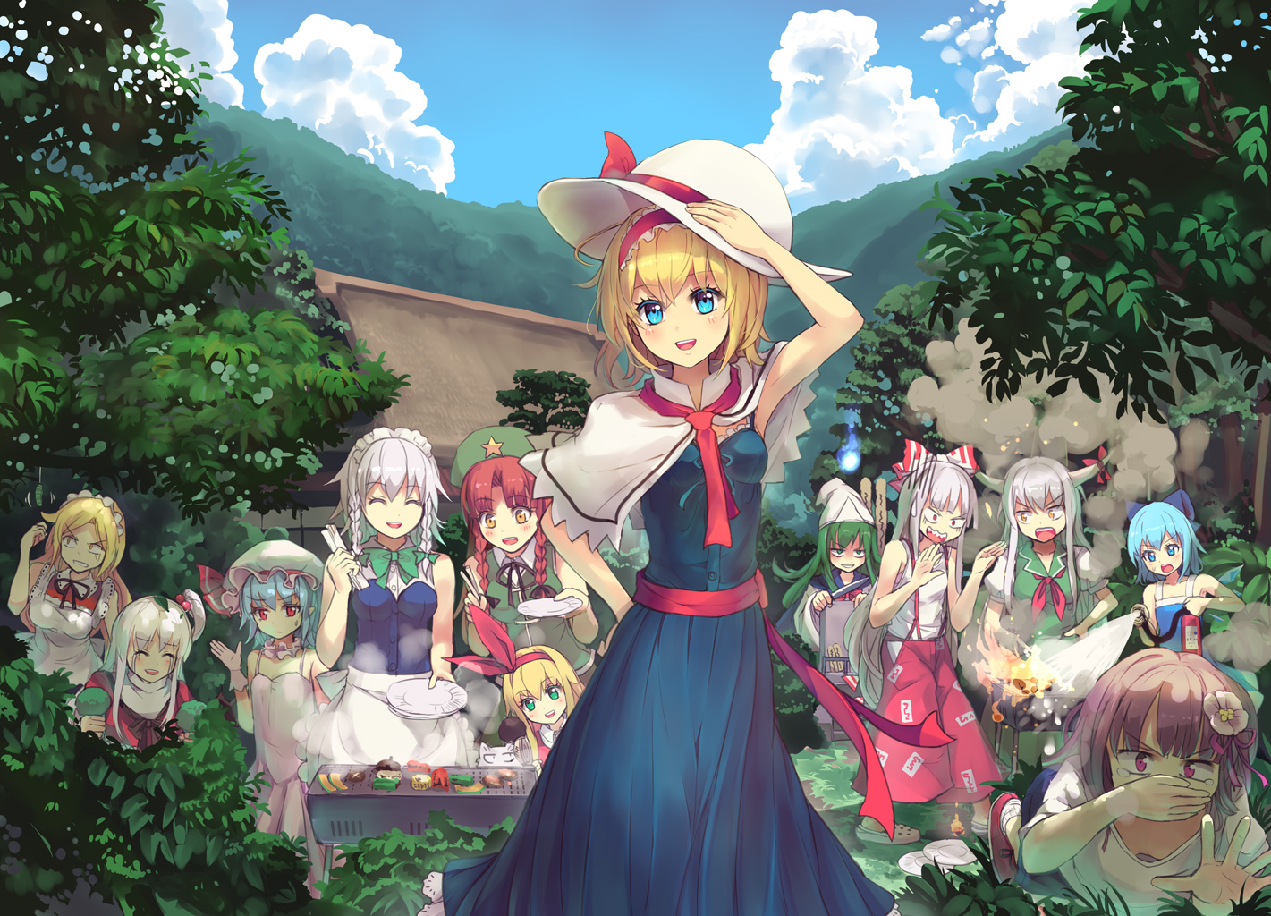 alice_margatroid building cirno clouds culter ellen fairy food fujiwara_no_mokou group hieda_no_akyuu hong_meiling izayoi_sakuya kamishirasawa_keine leaves maid mima remilia_scarlet shinki sky sokrates_(touhou) touhou vampire yumeko