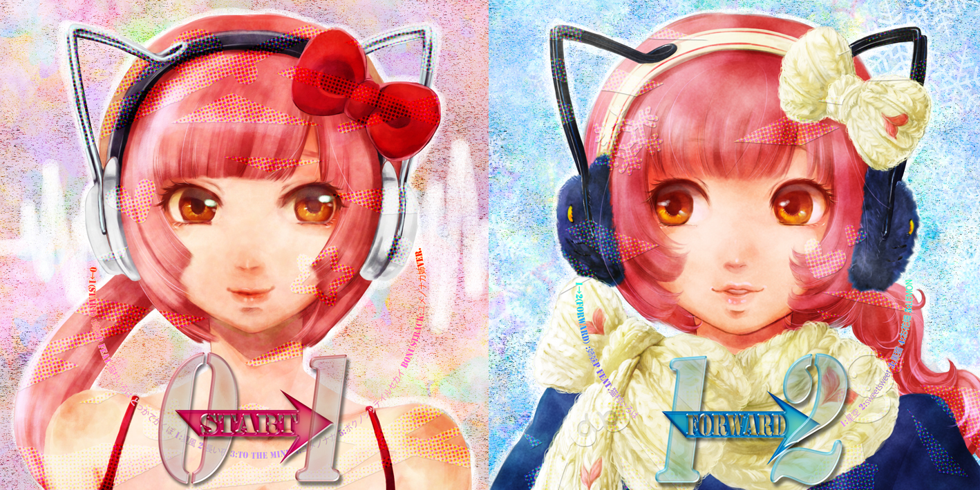 bow ceriseen_(toukou_sakuhin) headphones long_hair nekomura_iroha orange_eyes pink_hair ponytail realistic scarf vocaloid