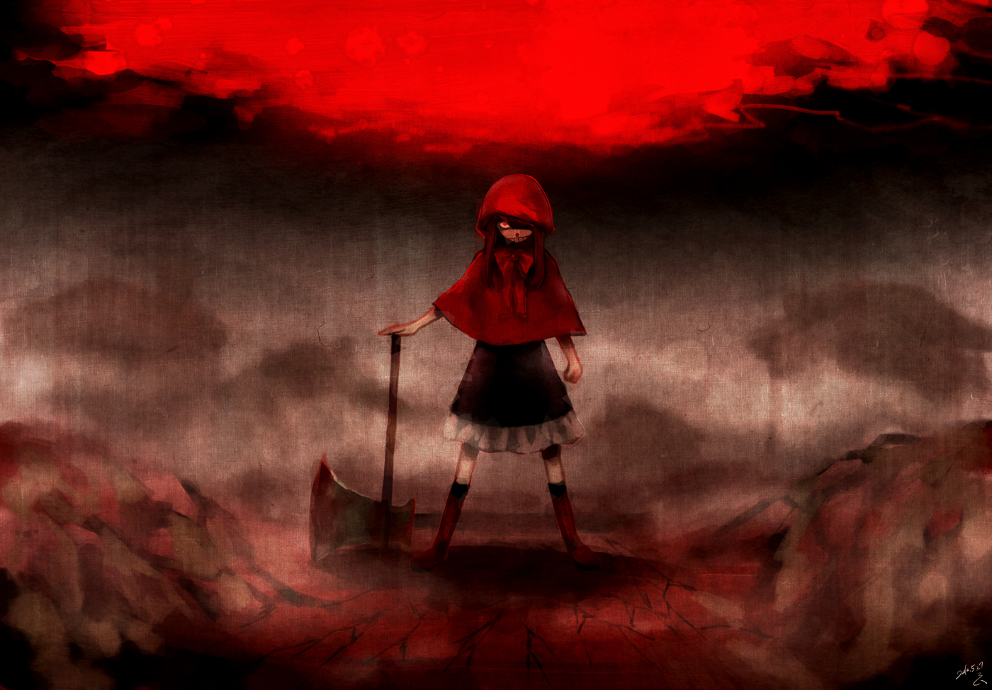 blood little_red_riding_hood red red_eyes red_riding_hood signed weapon