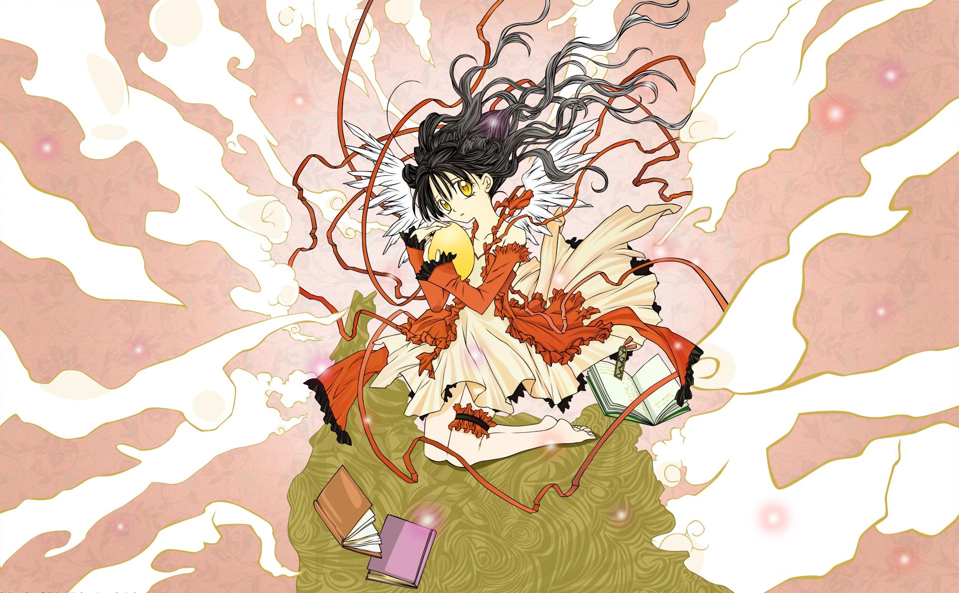 black_hair book dress full_moon_wo_sagashite koyama_mitsuki long_hair wings