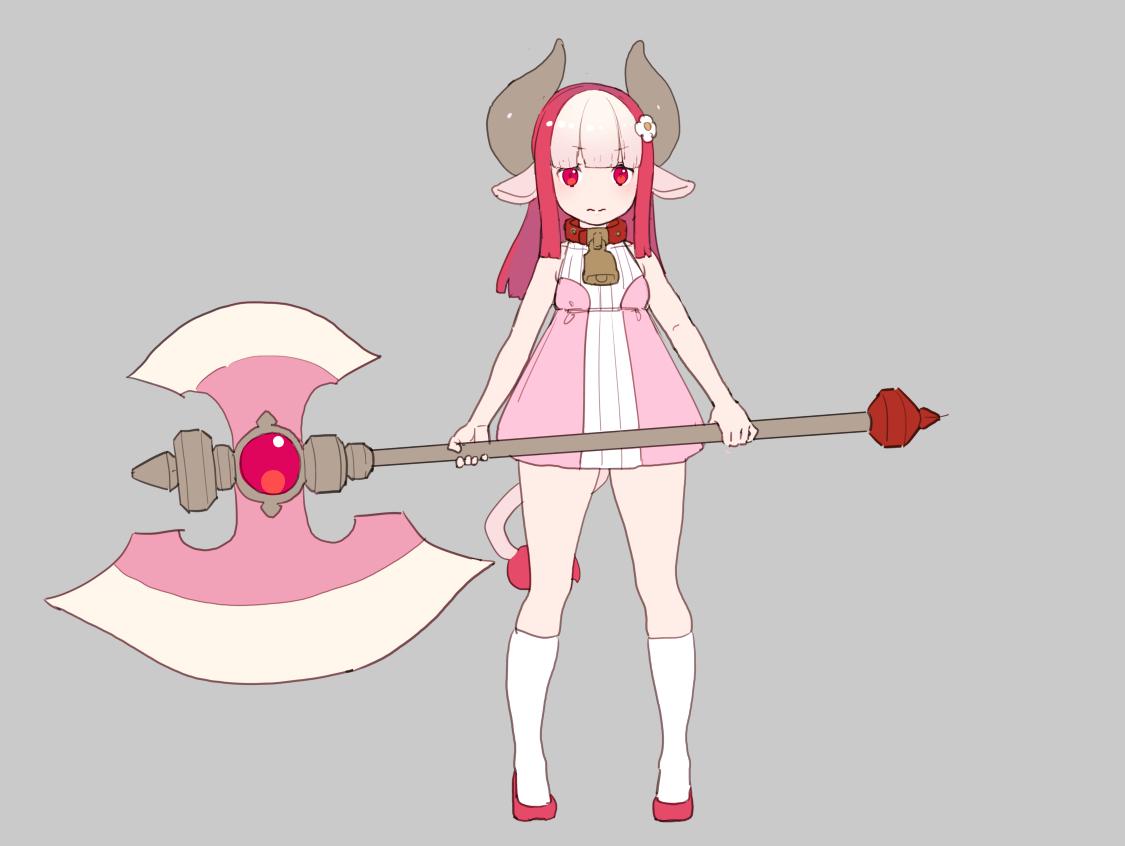 animal_ears bell collar cowgirl dress horns kneehighs loli long_hair nagisa_kurousagi original pink_hair polychromatic red_eyes tail weapon