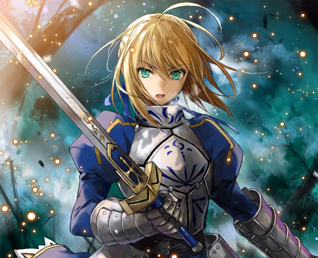armor artoria_pendragon_(all) blonde_hair fate_(series) fate/stay_night fate/zero green_eyes komecchi ribbons saber sword weapon