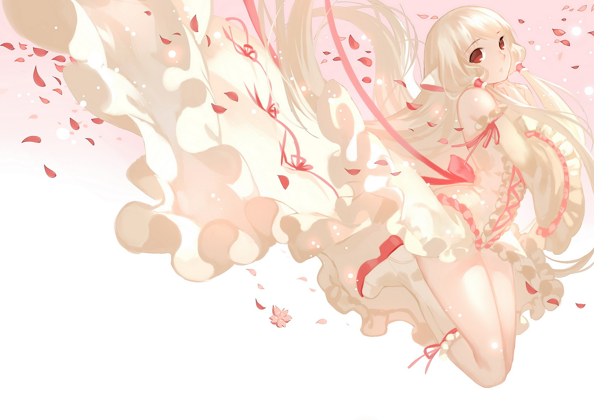 blonde_hair boots chii chobits dress joseph_lee long_hair petals red_eyes twintails