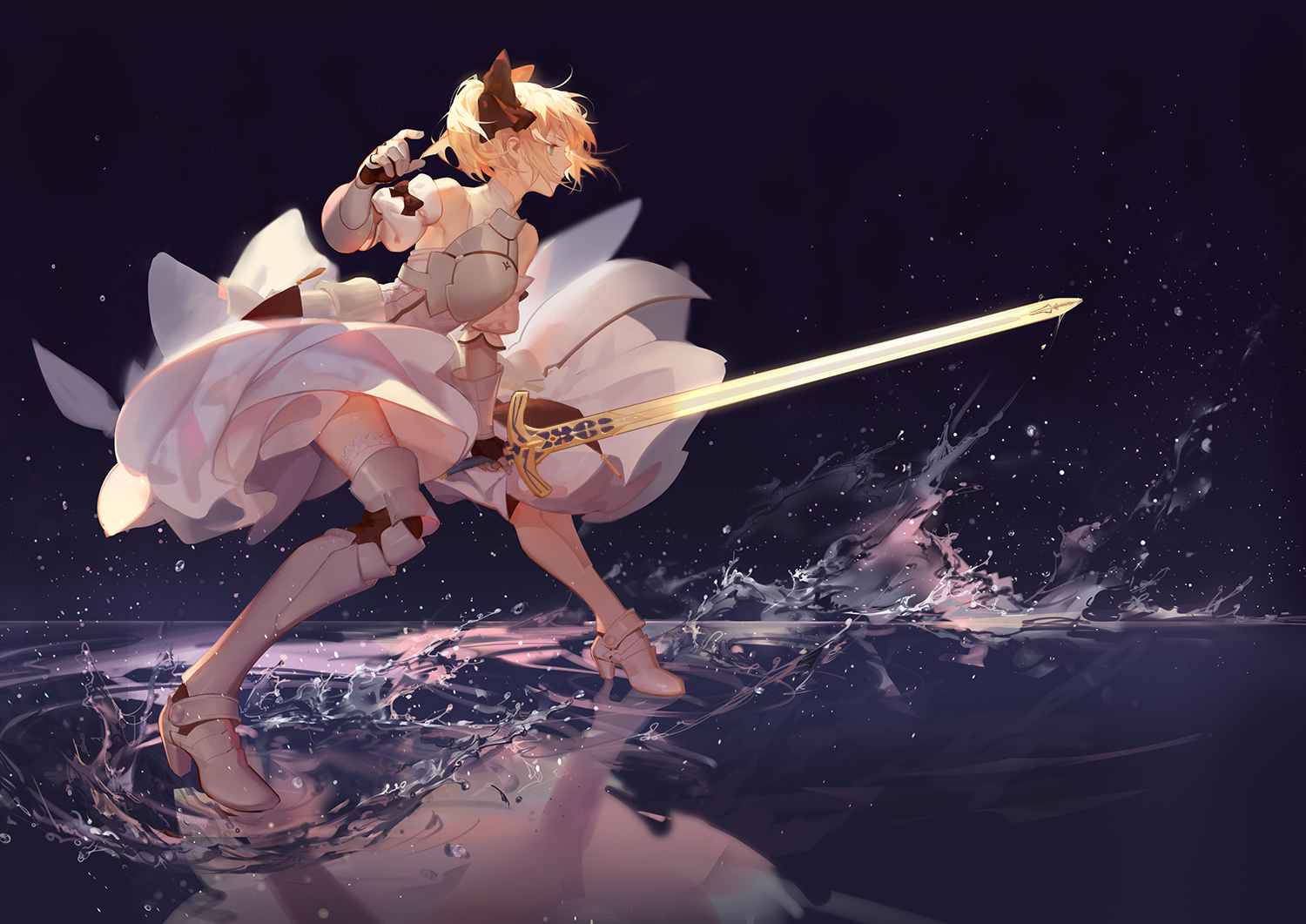 armor artoria_pendragon_(all) asukaziye blonde_hair dress fate_(series) fate/stay_night fate/unlimited_codes reflection ribbons saber saber_lily sword thighhighs water weapon