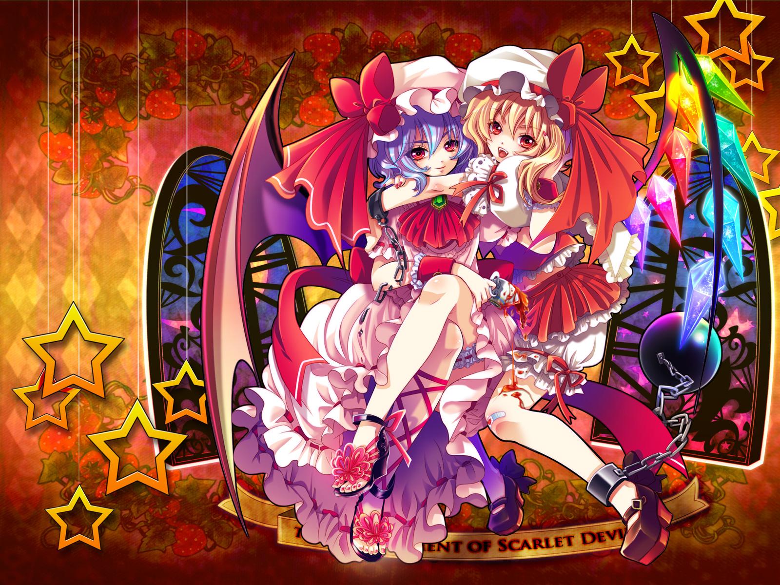 2girls flandre_scarlet remilia_scarlet shima_tiyo touhou vampire