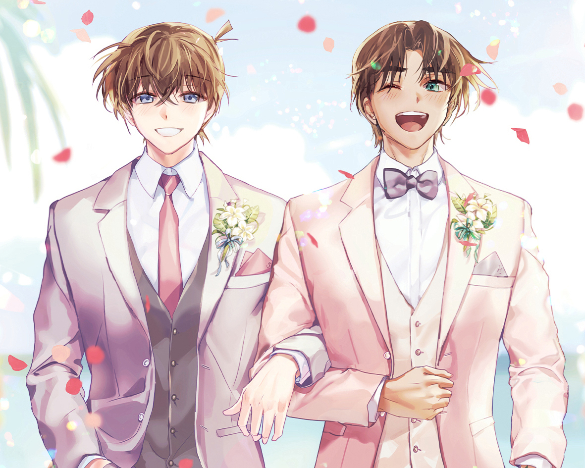 all_male bow brown_hair cropped detective_conan flowers hattori_heiji joypyonn kudou_shinichi male petals shounen_ai suit tie wedding wedding_attire wink