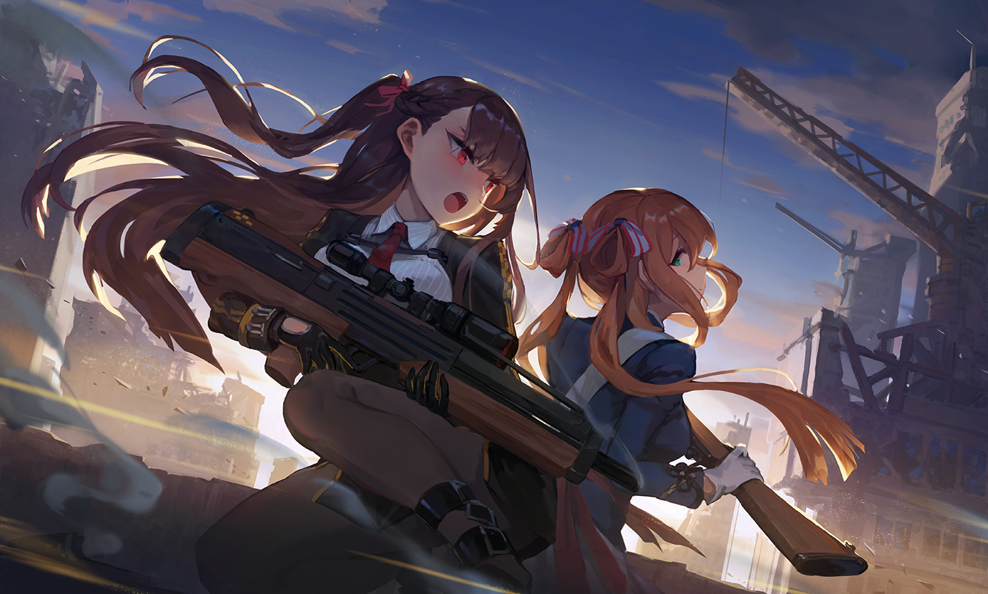 2girls anthropomorphism clouds ecien girls_frontline gloves green_eyes gun industrial long_hair orange_hair pantyhose purple_hair red_eyes ruins sky springfield_(girls_frontline) tie twintails wa2000_(girls_frontline) weapon
