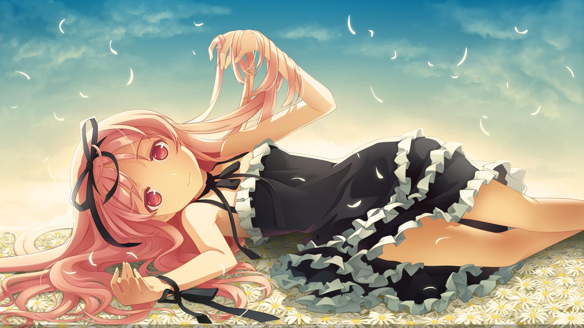 dress garden_(galge) h2so4 himemiya_ruri pink_hair