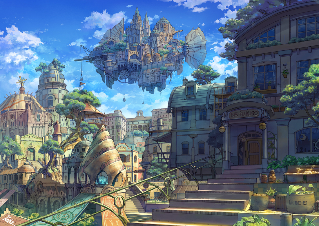 airship building city clouds kaitan nobody original scenic sky stairs tree