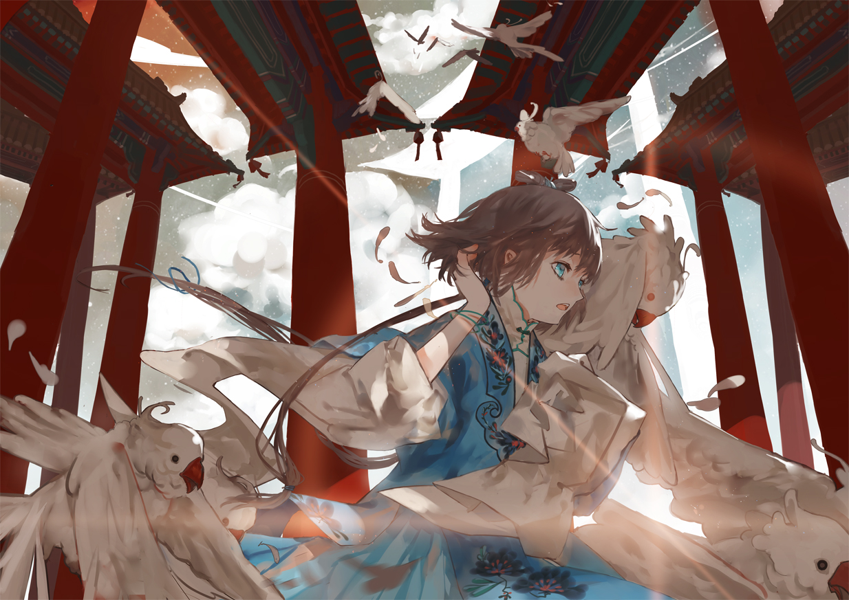 animal bird blue_eyes brown_hair chinese_clothes clouds dress feathers luo_tianyi vocaloid vsinger wristwear xiayu93