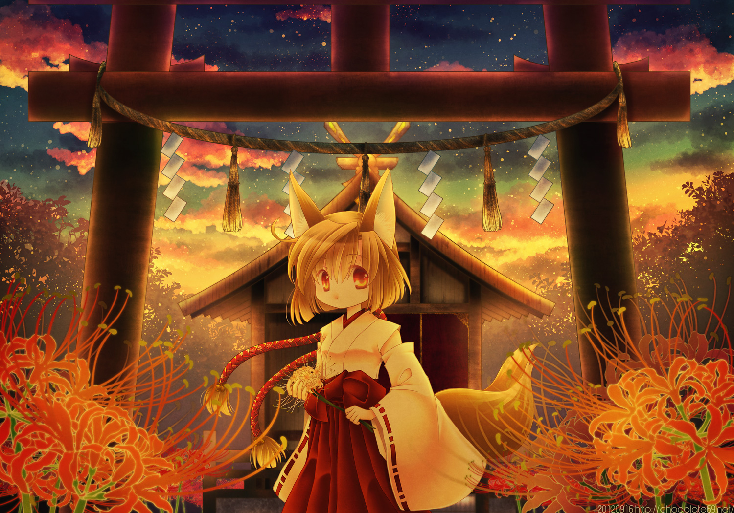 animal_ears ascendancy flowers foxgirl japanese_clothes miko original sunset torii