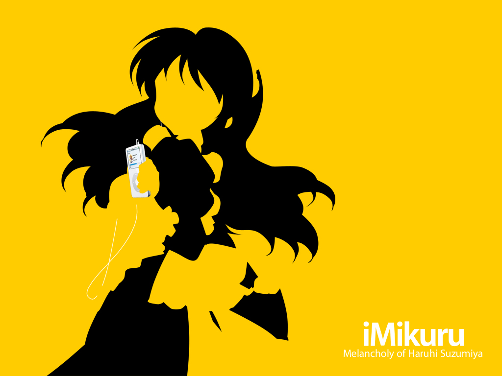 asahina_mikuru ipod maid parody silhouette suzumiya_haruhi_no_yuutsu yellow