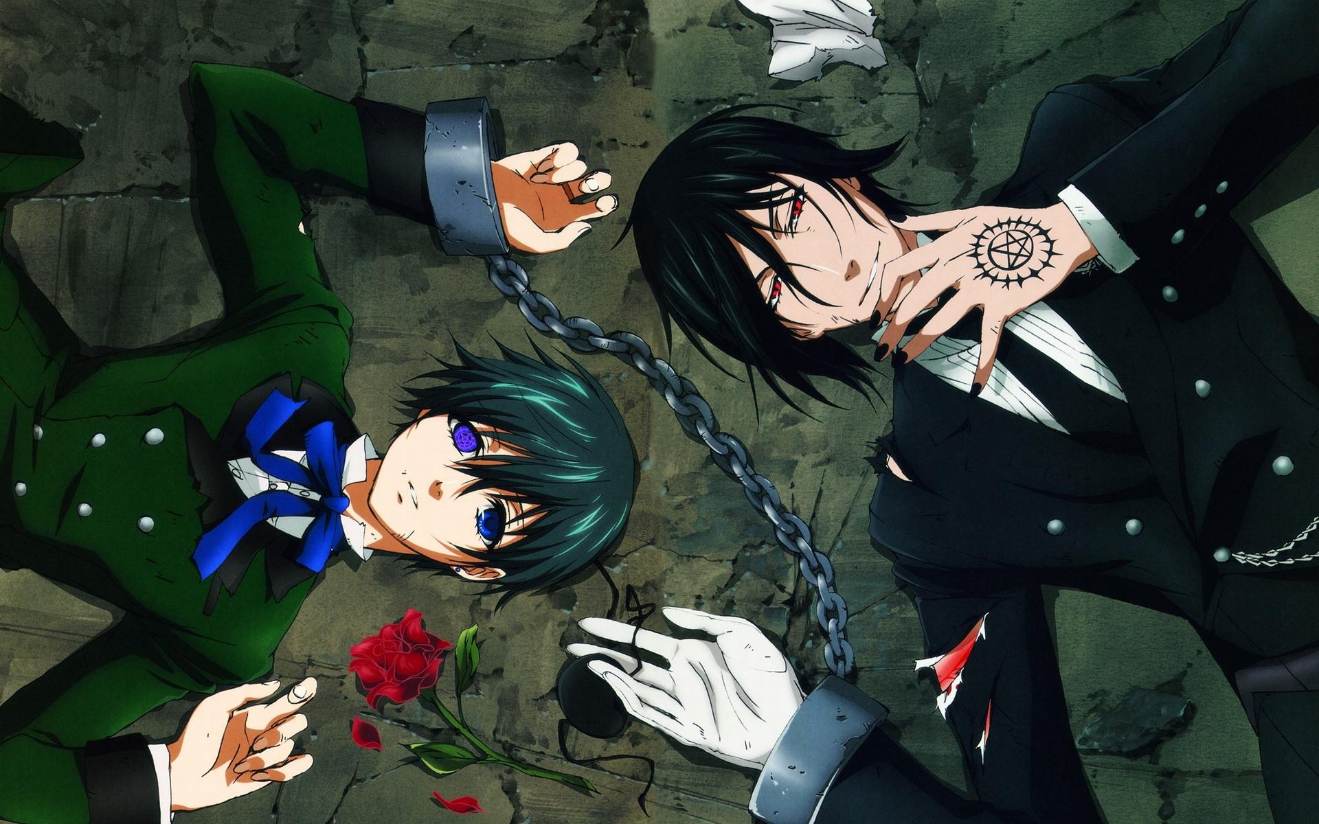 all_male black_hair blue_eyes bondage chain ciel_phantomhive flowers gloves kuroshitsuji male red_eyes ribbons rose sebastian_michaelis shackles