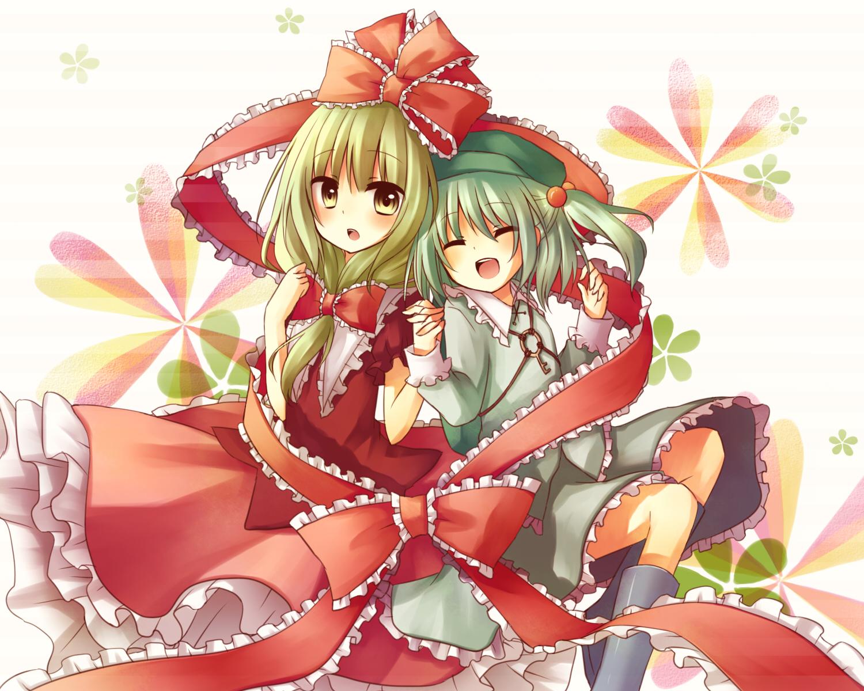 blonde_hair dress green_hair hat kagiyama_hina kawashiro_nitori long_hair ribbons short_hair skirt touhou yellow_eyes