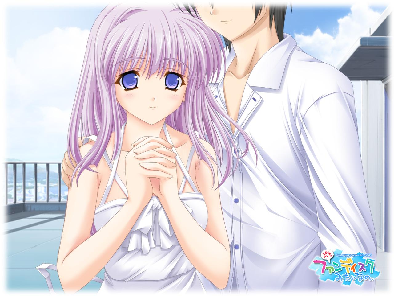 blue_eyes dress konoe_nanami lamune long_hair pink_hair sky tomosaka_kenji white